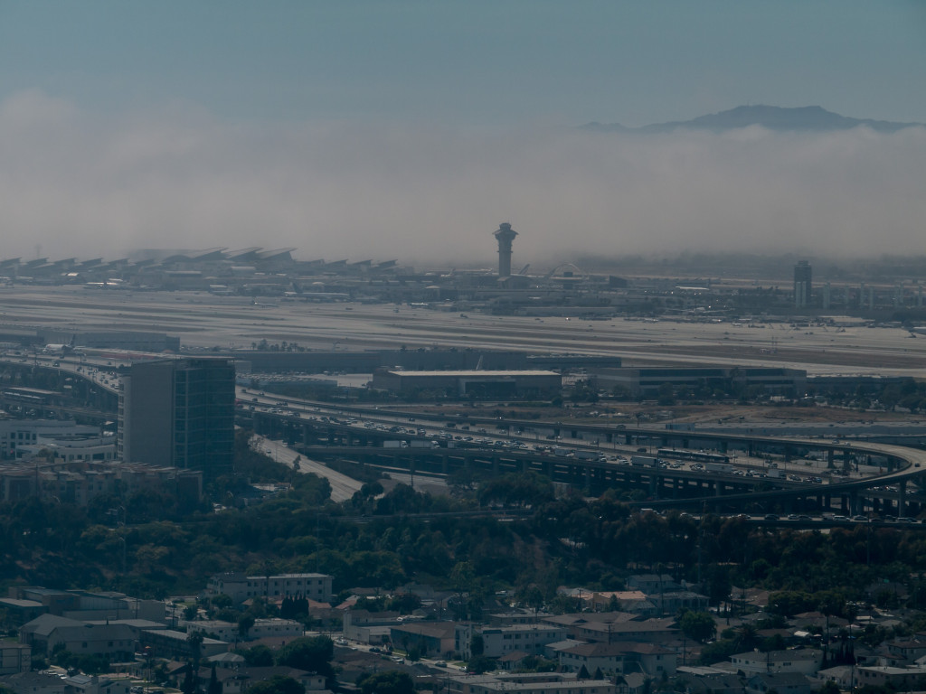 Fog eating LAX on hot SoCal day